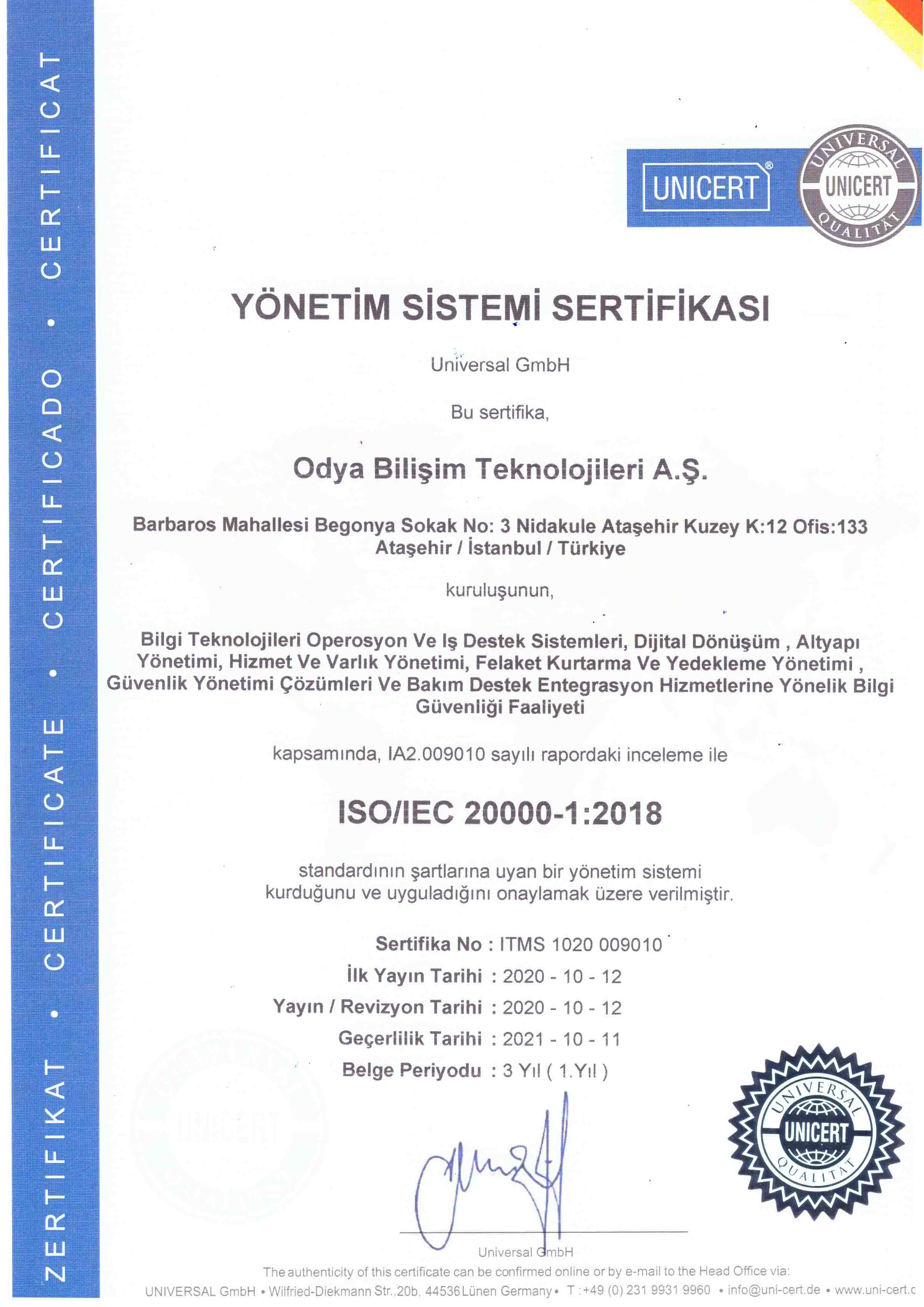ISO 20000 BT Hizmet Yönetimi Sertifikası