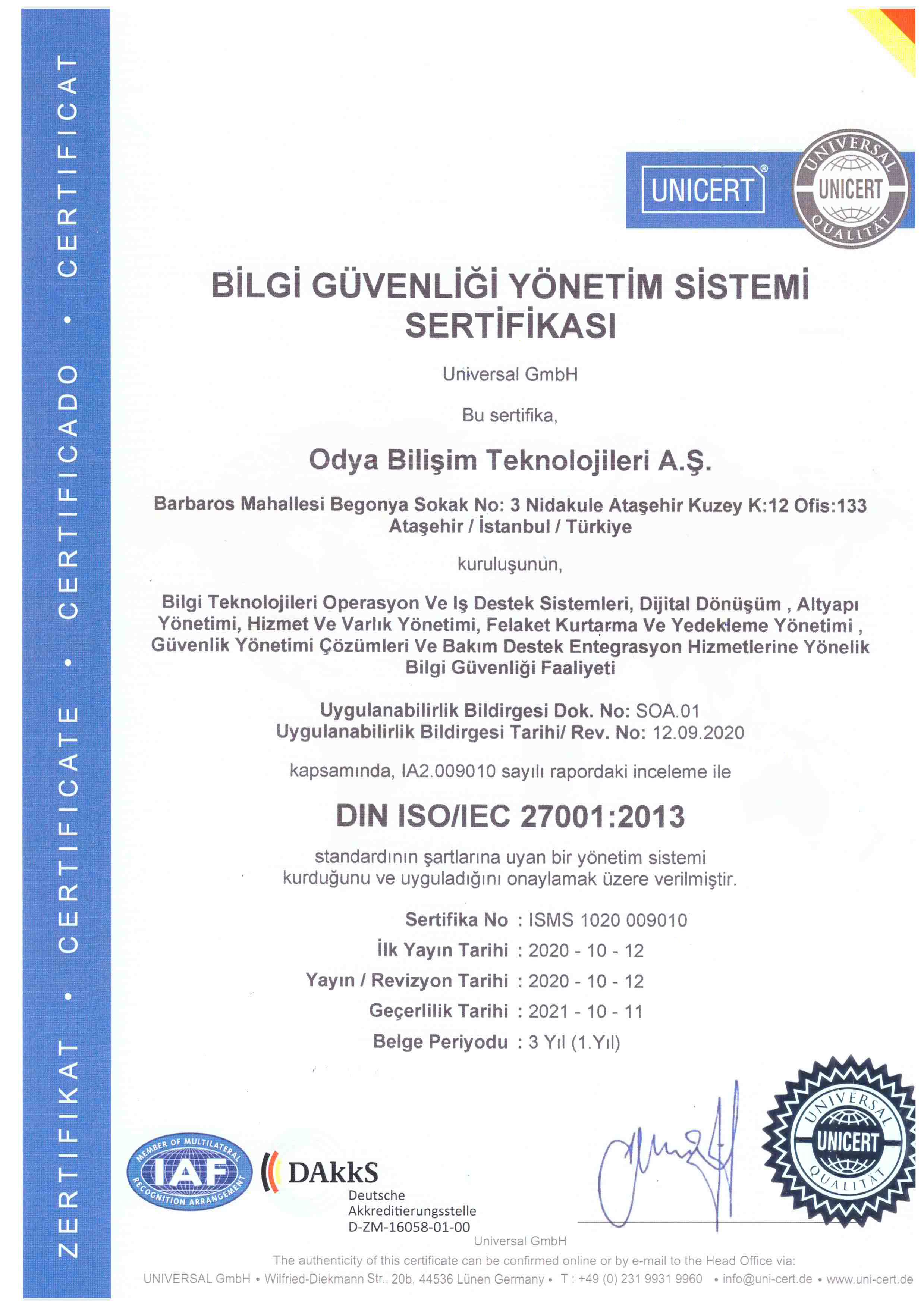 ISO 27001 Bilgi Güvenliği Sertifikası